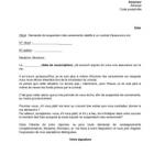 lettre de suspension de contrat de travail