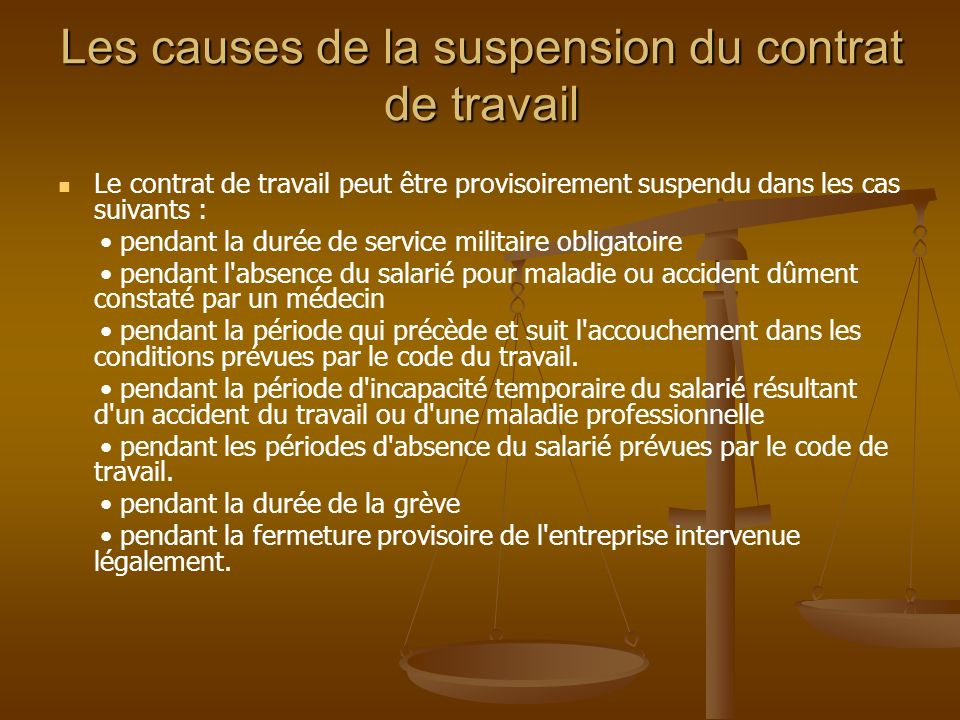suspension du contrat de travail